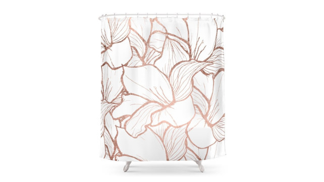 Society6 Rose Gold Shower Curtain