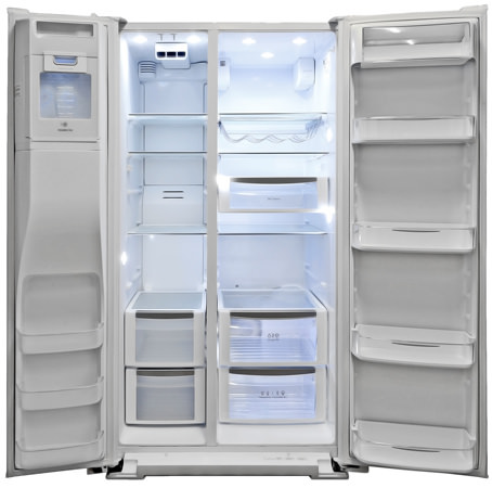 kenmore fridge inside. this side-by-side offers more storage space than most other comparable models. kenmore fridge inside n