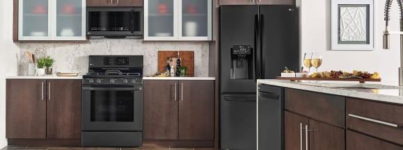 Lg matte black in brown kitchen 1