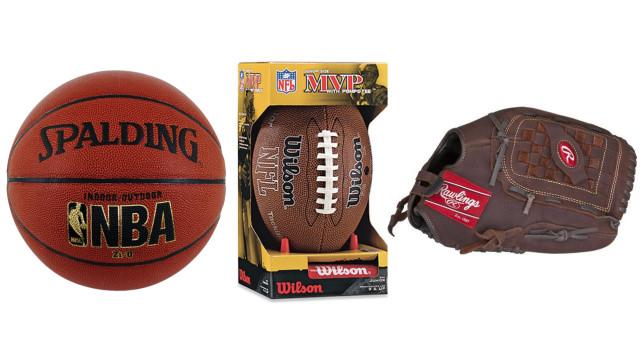 Basketball, football, and baseball glove