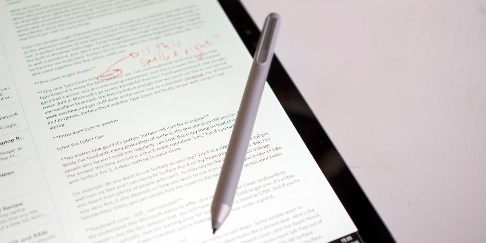 Microsoft Surface Pro 4 Pen Edits